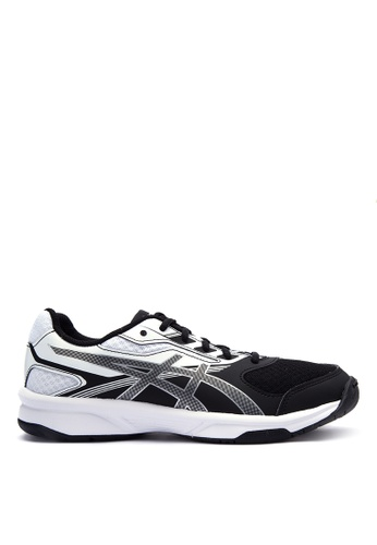 Asics black and white and silver Upcourt 2 Indoor Shoes AS445SH0IOCWPH_1