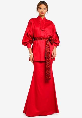 EVA Modern Kurung from Syomirizwa Gupta for ZALORA in Red