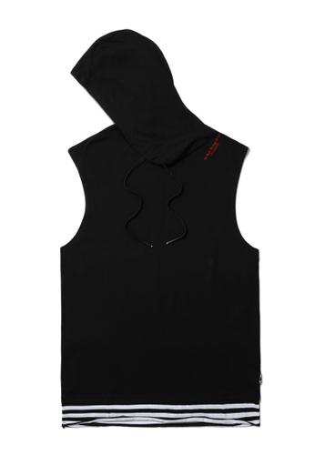 izzue black Layered hem sleeveless hoodie FFE06AA22F7068GS_1