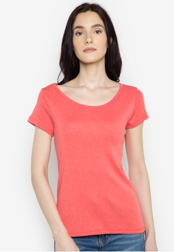 Organic red Deep Round Neck Tee OR165AA0J28XPH_1