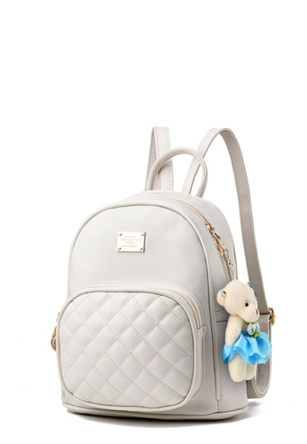 TCWK white TCWK PU Multiple White Ladies Backpack TC258AC0SI4BMY_1