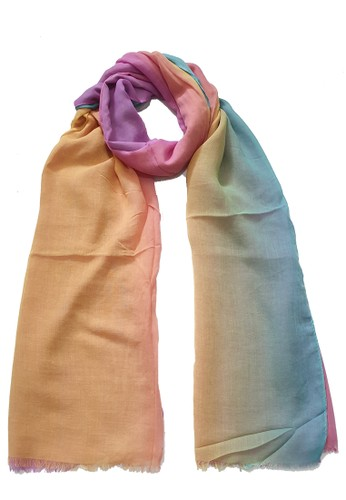 San Marco pink and orange and green Ombre PolyCotton Scarf Green, Orange & Pink 59EB2AA58514F9GS_1