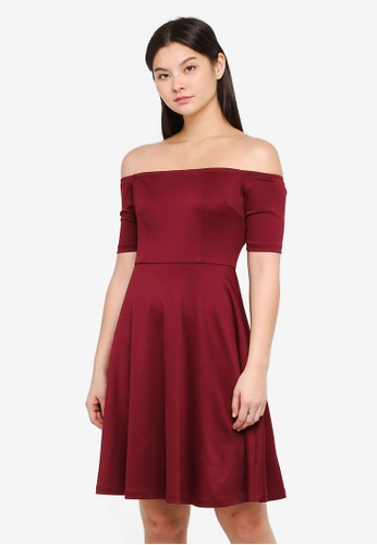 Something Borrowed red Off Shoulder Midi Dress 99AACAA8B33E4AGS_1