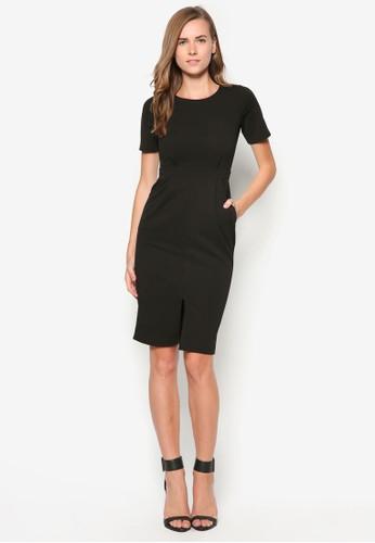 前開衩短袖洋裝, 服飾,zalora 評價 正式洋裝