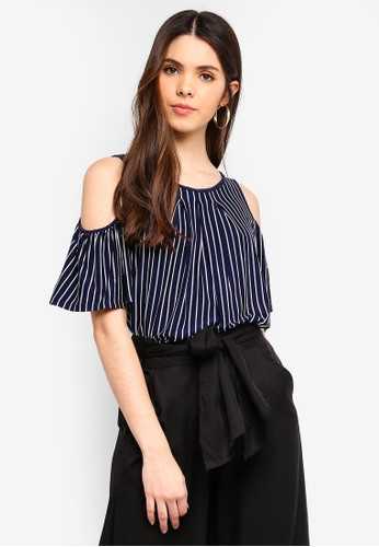 Max Studio multi and navy Stripe Jersey Cold Shoulder Top E69CEAA50DF91AGS_1