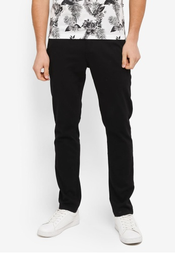 UniqTee black Slim Chinos With Striped Waistband UN097AA0SYU2MY_1