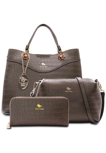 POLO HILL green POLO HILL Scaly Textured Handbag 3-in-1 Set 8BCAAAC22233C9GS_1