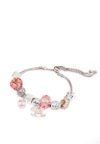 ASLLY pink and silver Carousel Music Box│Transparent Pink Beaded Bracelet 69333AC27E43D3GS_1