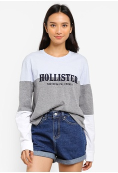 52849ddc5153a1 Hollister grey Long Sleeve Crew Neck Top AC6BFAAC23F20AGS_1