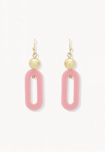 Pomelo pink Ball Oval Plate Dangle Earrings 1B269ACF1BCE19GS_1