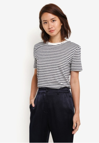 Selected Femme blue and navy My Perfect Short Sleeve Tee - Box Cut SE157AA0S48UMY_1