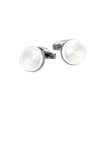Glamorousky silver Fashion Simple English Alphabet I Round Cufflinks B1FCCAC221CE8FGS_1