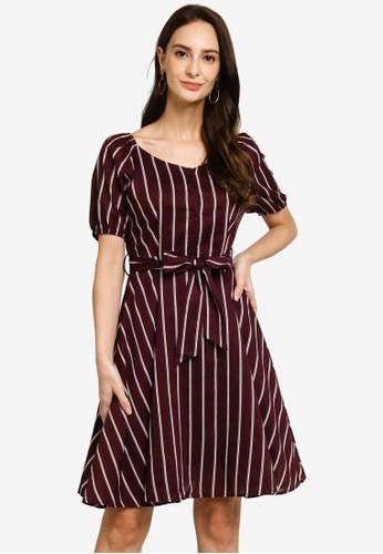Hopeshow red Elbow Sleeve Striped Knee Length Dress With Sash Belt ABE42AA273DDA5GS_1