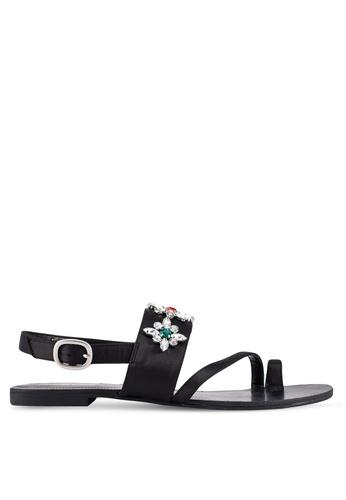 ZALORA 黑色 新年系列 寶石緞面涼鞋 5CCB8SH0215071GS_1