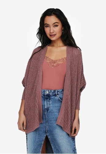JACQUELINE DE YONG pink Loose Knitted Cardigan A94CEAAF63D0C1GS_1