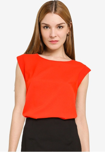 French Connection red Crepe Light Capped Sleeve Top B85CFAA6010318GS_1