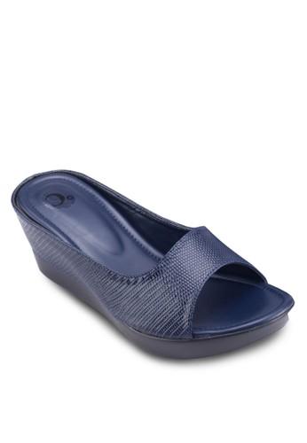暗紋露趾esprit香港門市楔形涼鞋, 女鞋, 楔形涼鞋