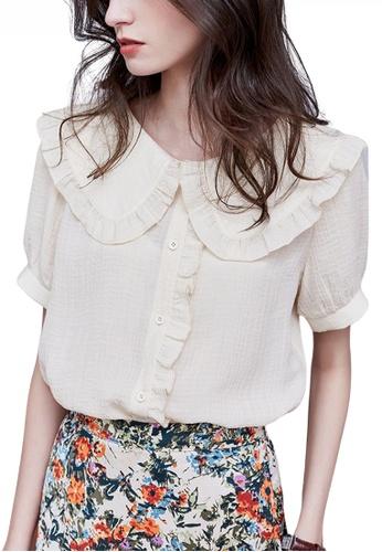 HAPPY FRIDAYS beige Romantic Doll Collar Blouse JW VY-W2122005 163B1AA54DEECAGS_1