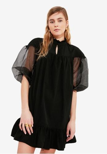 Trendyol black Organza Balloon Sleeve Dress DAAE8AA085A17EGS_1