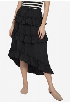 357495aa85d Caoros black Layered Ruffled Skirt EAFF3AAD6FBD4EGS 1