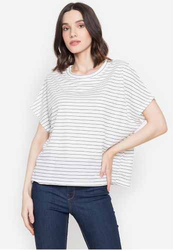 M and M white Stripe Over Size Top 99E24AAAE0FE12GS_1