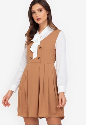 ZALORA WORK brown Pleated Pinafore Dress 5660CAA93C6292GS_1