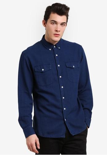 MANGO Man blue Slim-Fit Cotton Chambray Shirt MA449AA0RIJYMY_1