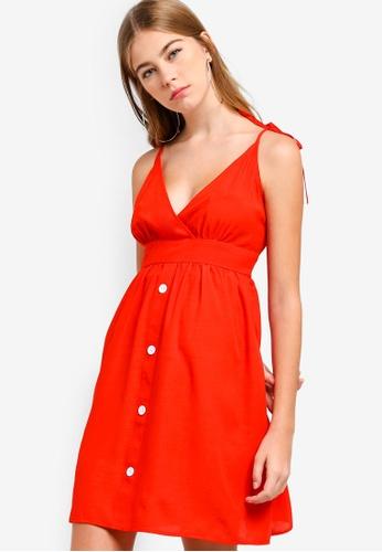 Something Borrowed red V-Neck Cami Babydoll Dress D2DEDAA5DF2CA2GS_1