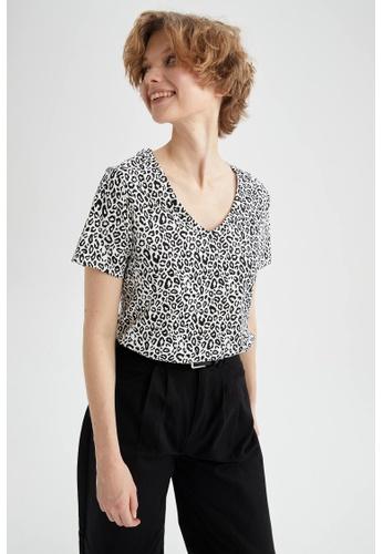 DeFacto beige Short Sleeve V-Neck Cotton T-Shirt 8FC00AA27EA044GS_1