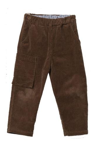 M.Latin brown Corduroy Pants with Elastic Waistband CC851KA7687312GS_1
