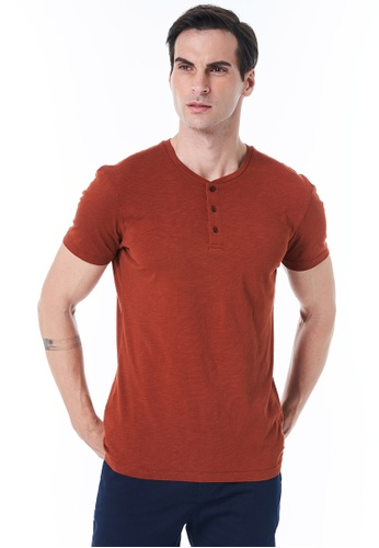 Sisley red Round Neck T-shirt 5F8CEAAD7B40F4GS_1