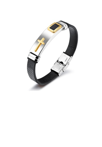 Glamorousky silver Fashion Classic Golden Cross Geometry 316L Stainless Steel Black Leather Bracelet 8D6D2AC7A65393GS_1