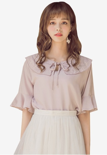 Yoco pink Patterned Collar Top F6700AAEF80E43GS_1