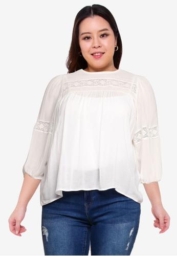 Vero Moda beige Plus Size Feli 3/4 Top A0726AA4E36724GS_1
