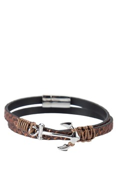 Premium- Genuine Leather Double Tour Wristband With Anchor