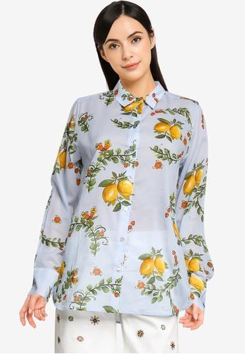 Desigual blue Cotton Lemons Shirt F256BAAFFCC181GS_1