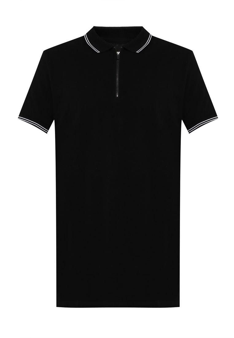 Longline Polo Shirt Ae Zip Sleeve On Cotton Short Black qwxECH