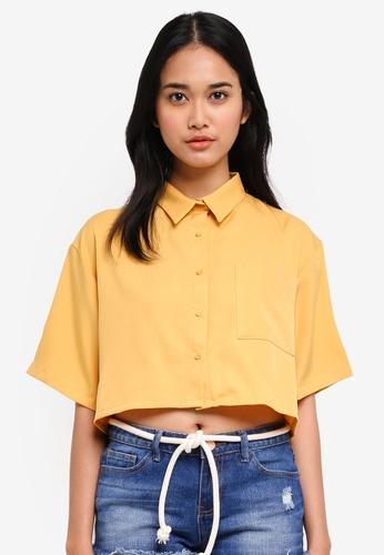 Penshoppe yellow Linen Shirt With Button-Down Collar DB99AAAFAB236DGS_1