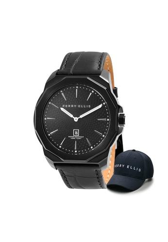 Perry Ellis black Perry Ellis Decagon Men 46mm Quartz Watch 05006-01 with Perry Ellis Cap 9C269ACCDF83D8GS_1