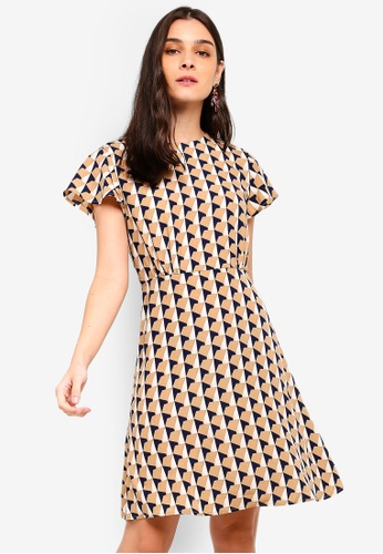ZALORA multi and beige Crew Neck Fit And Flare Dress 9AEB4AAF68B500GS_1