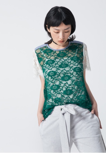 iROO green Lace Blouse 0E62CAAD72E08DGS_1