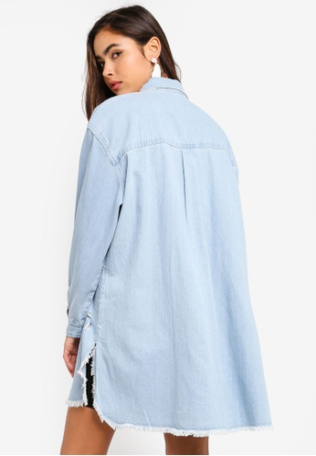 4c893b4ab5f Shop MISSGUIDED Oversized Distressed Denim Shirt Online on ZALORA  Philippines