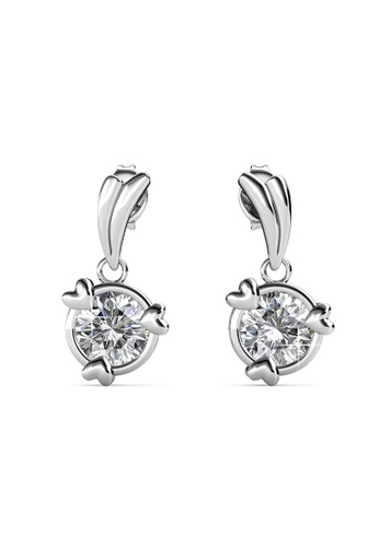 Her Jewellery silver Tri Love Ring Earrings (White Gold) -  Embellished with Crystals from Swarovski® 8EC1EACA66885AGS_1