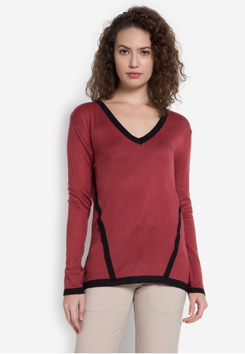 Chloe Edit red V Drop Pullover CH672AA0JZC8PH_1