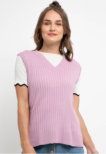 Peponi purple Vneck Rib Vest 4B8FDAAA5A8F90GS_1