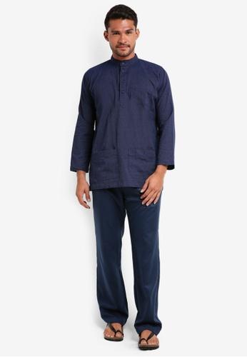 Lubna blue Stripe Baju Melayu Cekak Musang 54E96AA6667D1EGS_1