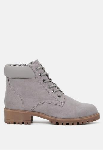 London Rag grey Ankle Length Lace up Boots 15DFFSHA2E3019GS_1