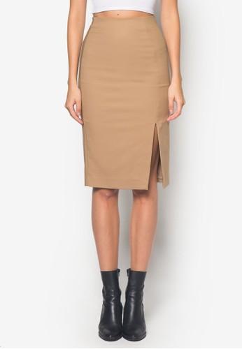 側開mango 手錶衩棉質鉛筆短裙, 服飾, 裙子