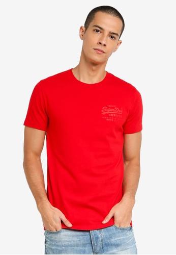SUPERDRY red Vintage Label Premium Goods Tonal Injection Tee C19BCAA4383BDDGS_1