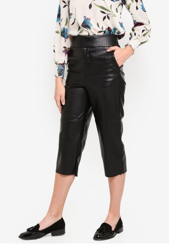 ESPRIT black Faux Leather Cropped Pants 08085AA47661A3GS_1